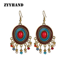 Indian Mid-East style women oval tassel jewelry bronze small beads 6.5CM copper alloy lady engagement drop earrings(China)