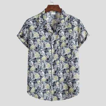 Hawaiian Mens Shirt Fashion Ethnic Short Sleeve Shirts For Men Casual Printing Button Up Blouse Tops Chemise Homme