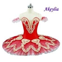 Adult Red Pancake Tutu La Esmeralda Gold Classical Ballet Stage Dance Costume Professional Platter for women