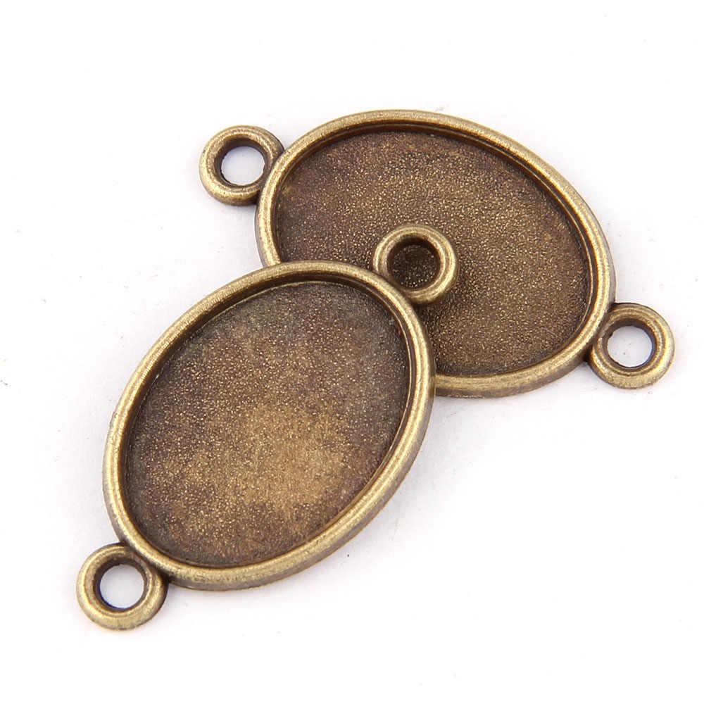 5pc โบราณ Bronze ด้านคู่แขวน 13x18 มม.DIY เครื่องประดับอุปกรณ์เสริมพบด้านล่างโลหะผสมสนับสนุนสร้อยคอฐาน
