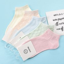 5 pairs of boat socks mesh lace short tube foam female cotton in summer Korean candy colored