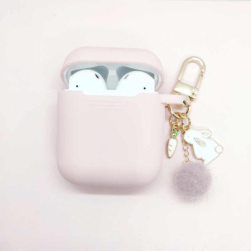 Luxury Diamond Carrot Hairball Rabbit Pendant For Apple Airpods Silicone Bluetooth Earphone Charger Box Protect Cover Key Ring