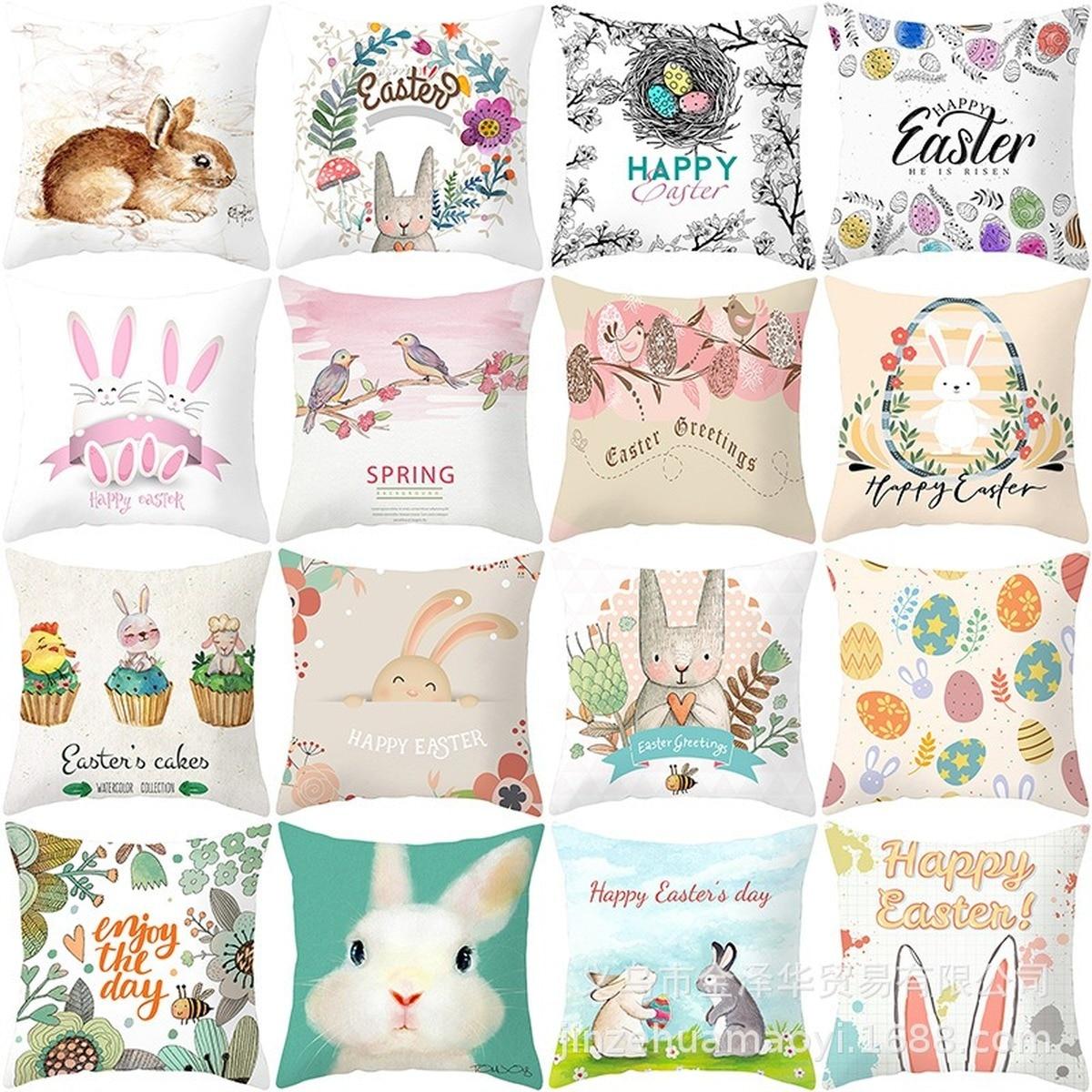 45*45Cm decoraciones felices de Pascua para el hogar conejito huevos de Pascua funda de almohada de poliéster decoraciones de fiesta decoración de conejo de Pascua Conjuntos de vestido de Pascua para niñas, vestido de conejo a rayas, Cartera de conejito a juego, medias y accesorios