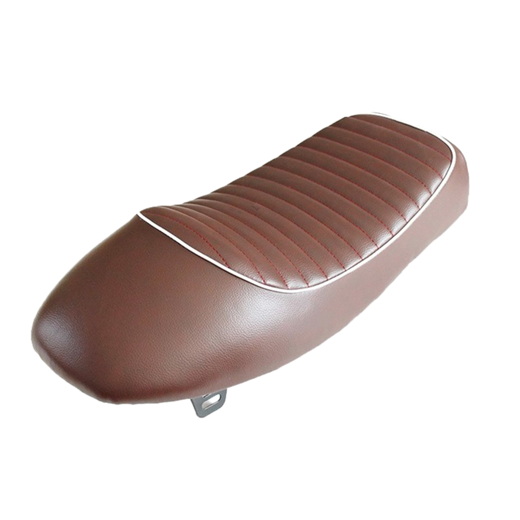 Brown Motorbike Cafe Racer Motorcycle Hump Styling Saddle Seat Waterproof W/ White Piping