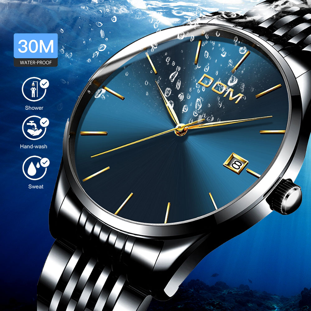 Watch Men Fashion Waterproof Analog Date Business Men's Wrist Watches Top Brand Luxury Stainless Steel Belt Ultrathin Man Watch