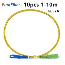 FirstFiber 10PCS 1m 2m 3m SC APC כדי SC UPC סיבי תיקון כבל G657A, מגשר, תיקון סימפלקס 2.0mm SM 5m 10m