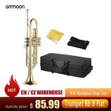 Ammoon trompete musical bb b trompeta de bronze plano requintado durável trompete instrumento musical com bocal luvas cinta caso