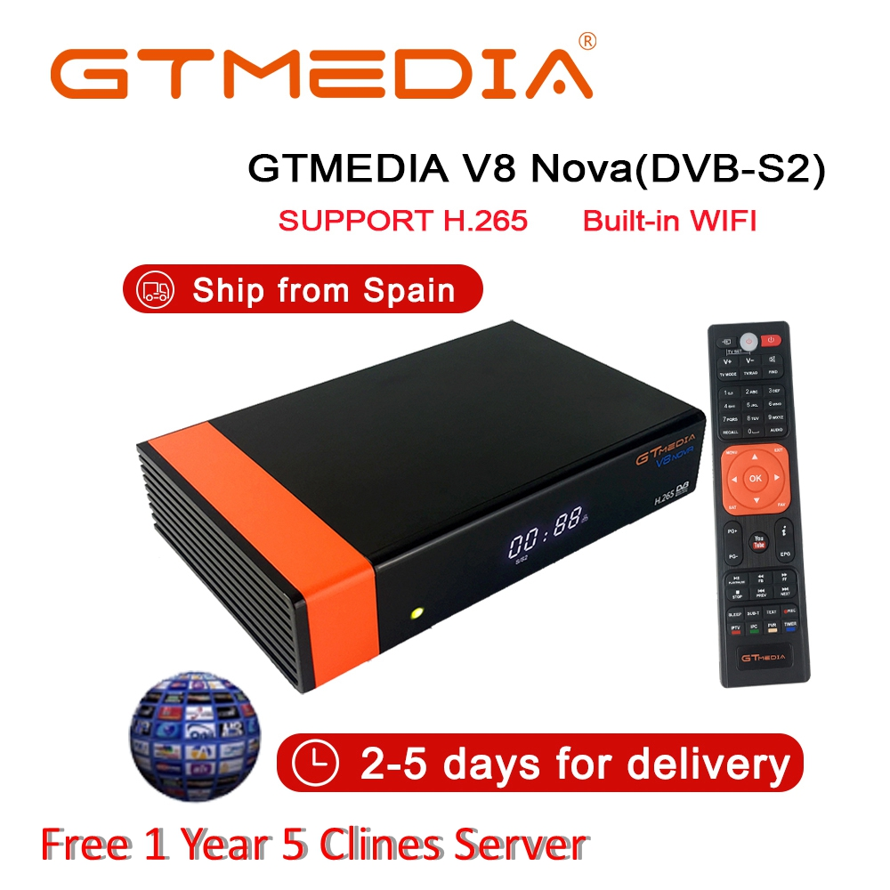 V8 Nova DVB-S2 récepteur de télévision numérique récepteur de télévision par Satellite décodeur avec Wi-Fi intégré 1080P Full HD prise en charge PVR, clé PowerVu Biss