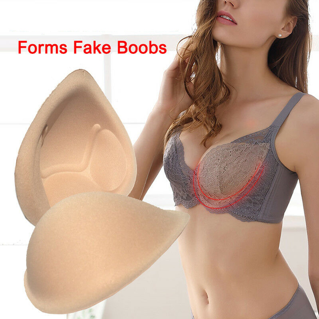1 Pair Realistic Strap Sponge Breast Forms Fake Boobs Enhancer Bra Padding Inserts For Swimsuits Crossdresser  Cosplay