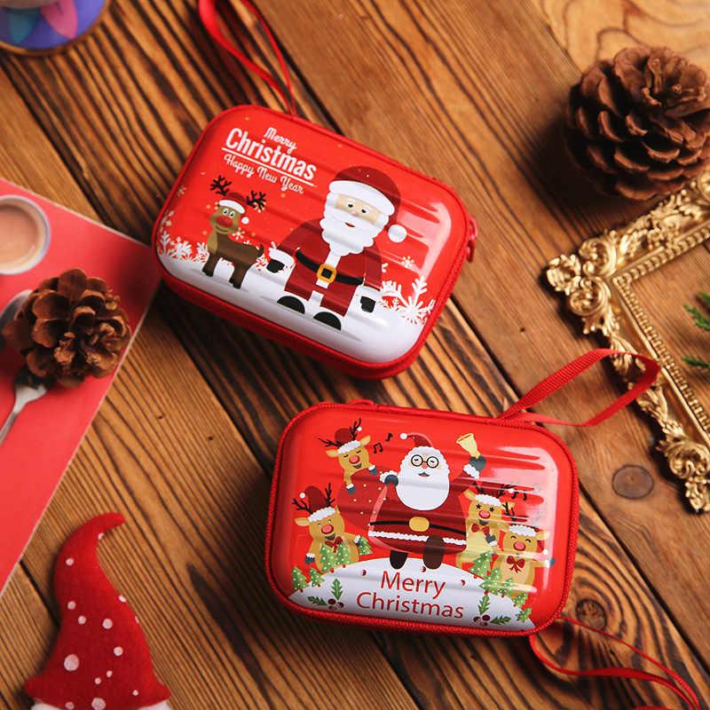 PURDORED 1 Pc Kerst Hoofdtelefoon Doos Mini Tin Bonbondoos Kerst Portemonnee Oorbellen Storage Box Kids Xmas Boom Decoratie