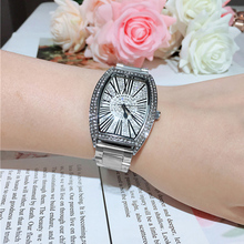 Gorgeous wine barrel shape and rectangular steel belt quartz movement diamond watch shiny 40mm waterproof woman