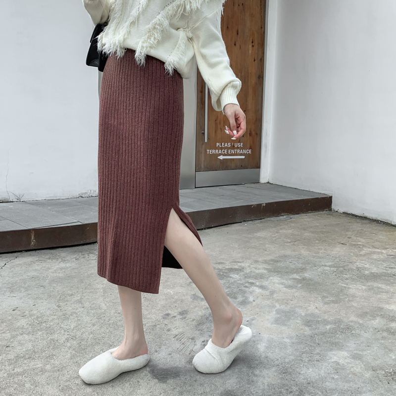 Women Skirt Knitting High Waist Split In Hip Skirts Brown Gray Black <font><b>3601</b></font> image