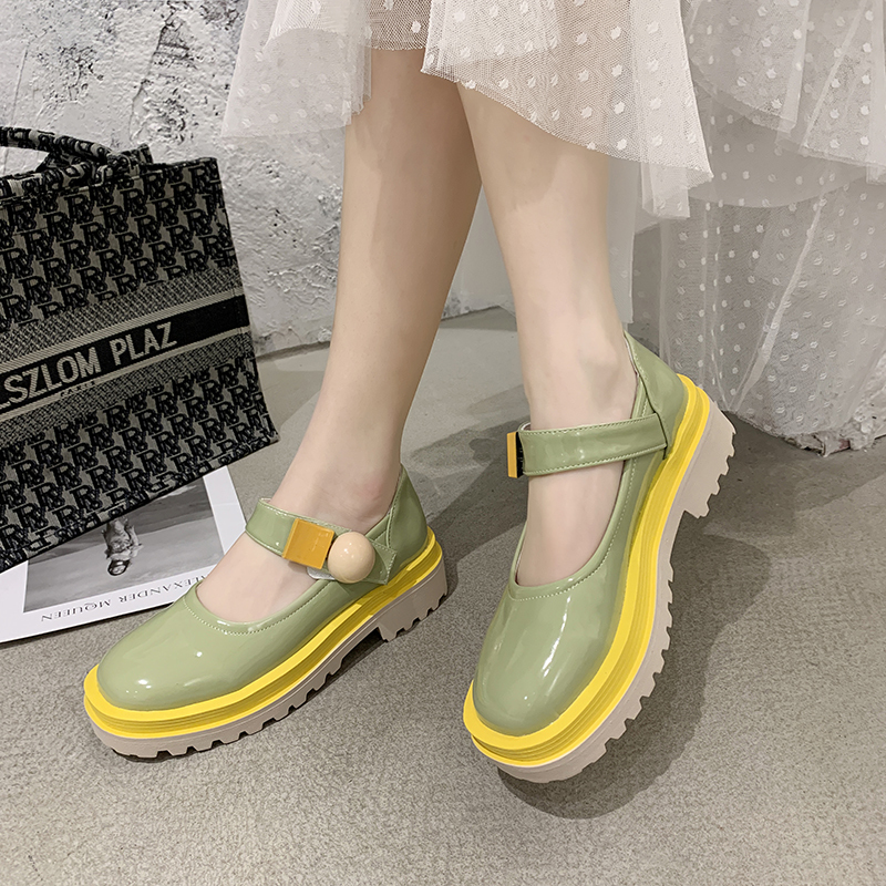 Rimocy Candy Color PU Mary Janes Women Pumps Comfortable Round Toe Med Heel Lolita Shoes Woman Platform Ankle Strap Casual Shoes