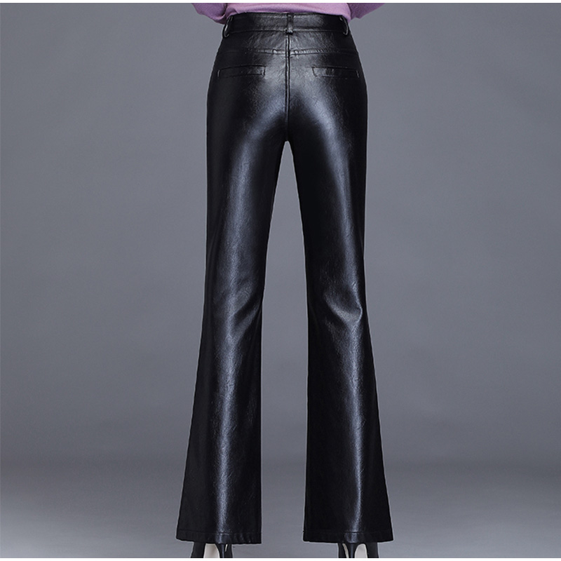 Image 4 - Plus Size Pockets Stretch Pu Leather Flare Pants 3Xl 4Xl Winter  Women Office Ladies Workwear Bell Bottom Pu Long Trousers MujerPants