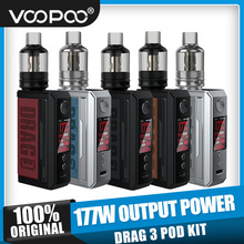 VOOPOOO riginal 177W DRAG3 TC Kit with 5.5ml TPP Tank DRAG 3 Mod VS Drag 2 TC Kit wi/ 5ml UFORCE T2 Atomizer E-cig Vape  Kit