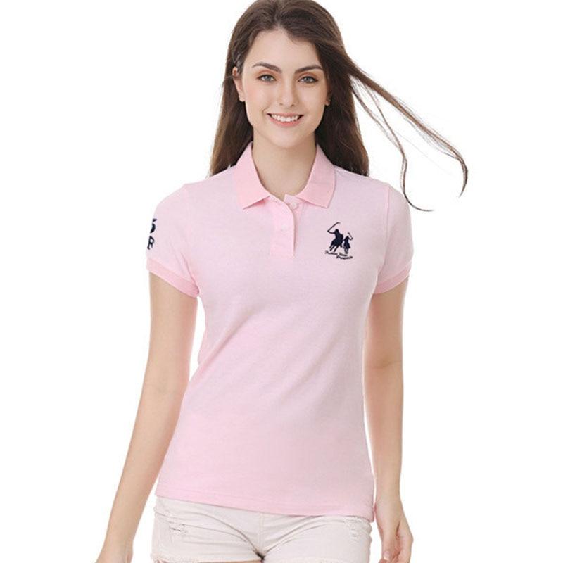 High Quality Summer New Lady Short Sleeve Polo Shirts  Big Horse Casual Women Lapel Polos Shirts Cotton Women Ffashion Slim Tops