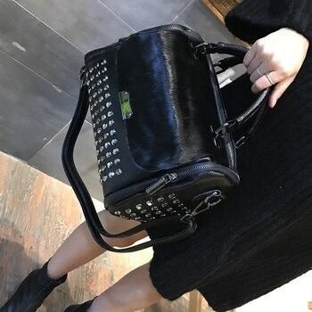 Horse hair female winter fashion bags multi-purpose one shoulder atmospheric leisure leather Boston Diamonds Fur Messenger Bags