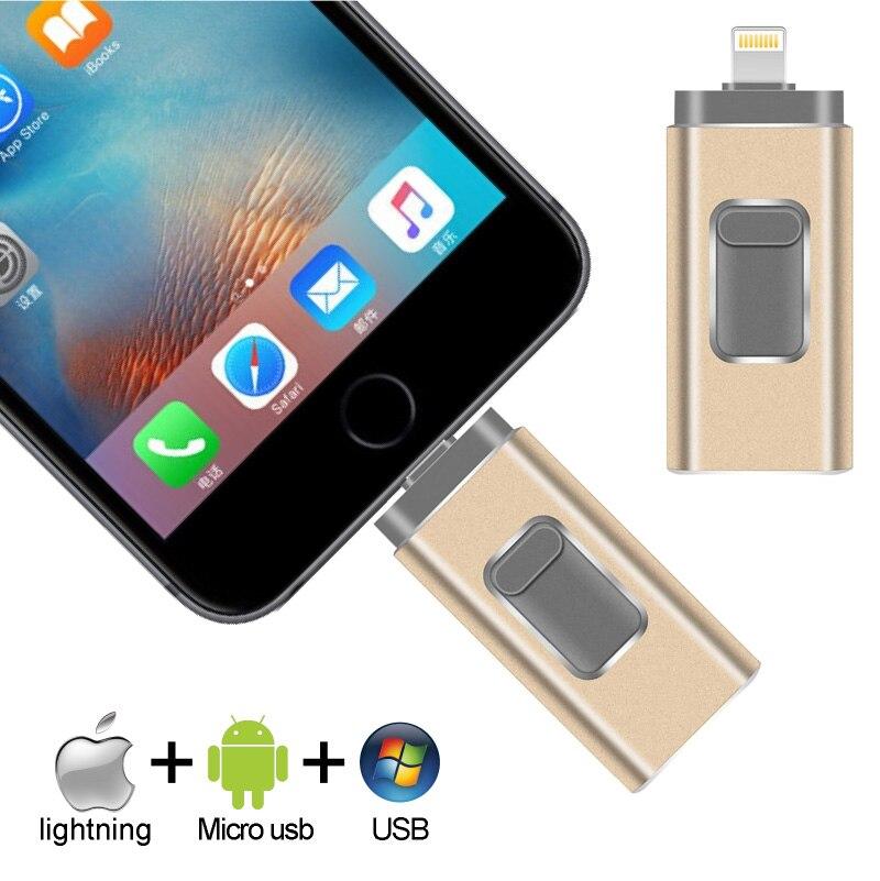 OTG USB Flash Drive For IPhone X/8/7/7 Plus/6/6s/5/SE/ipad 3 IN 1 Pen Drive Memory Stick 16GB 32GB 64GB 128GB Pendrive Usb 3.0