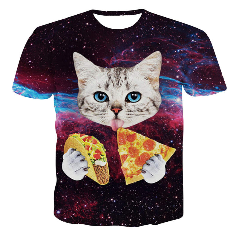2019 Summer High Quality Round Neck T-shirt Men And Women 3d T-shirt Cat T-shirt Cat Eating Tortilla Pizza Shirt T-shirt Top