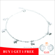 ZOBEI 925 Sterling Silver Circle Anklet For Women Round Geometric Metal Chain Fine Jewelry Party Birthday Gift
