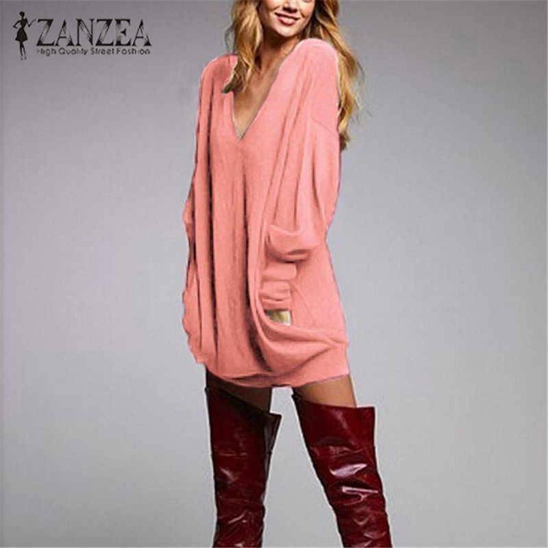 Zanzea 2019 Herfst Vrouwen Lange Blouse Shirt Lange Mouw Gebreide Sexy V-hals Truien Casual Tuniek Pull Femme Plus Size S-5XL