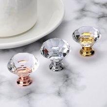 40 мм Алмазный Форма с украшением в виде кристаллов Стекло ручки