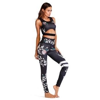 Acefancy Yoga Set Fitness Print Leggings Push Up Crop Rop  Bra Clothing Gym Woman ZC1792 Fitness Sets Sport Wear Outfit  Women 2