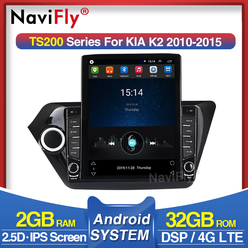 NaviFly Vertical Tesla Screen HD 1024*768 Fo Kia RIO 3 4 K2 2010 2011-2015 With DSP Car Multimedia Video
