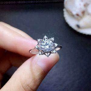 Image 2 - MeiBaPJ 1 Carat VVS1 Moissanite Diamond Flower Simple Ring for Women 925 Sterling Silver Fine Wedding Jewelry