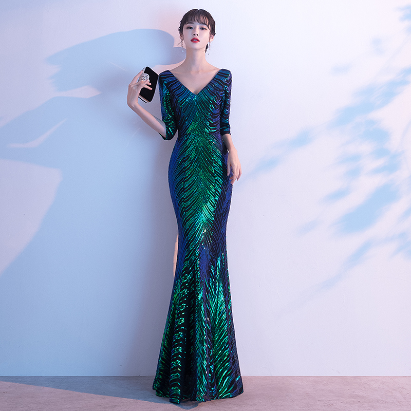 AE623 Evening Dress Long Sparkle New Green V-Neck Women Elegant Sequin Mermaid Maxi Evening Party Gown Dress