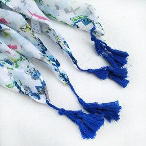 Image 5 - Женские хлопковые длинные шарфы с кисточками, весенние женские мягкие шали из полиэстера, женские накидки в этническом стиле, Осенние мусульманские хиджабы шарфы