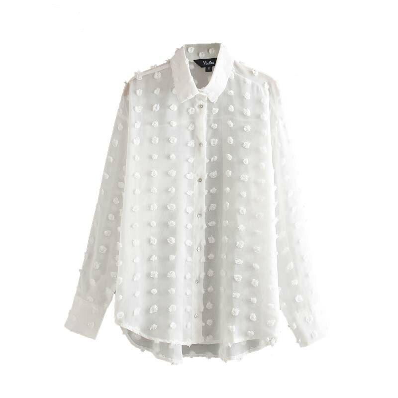 Women Elegant Chiffon Solid White Irregular Blouse Long Sleeve Turn Down Collar Buttons Female Chic Office Wear Tops