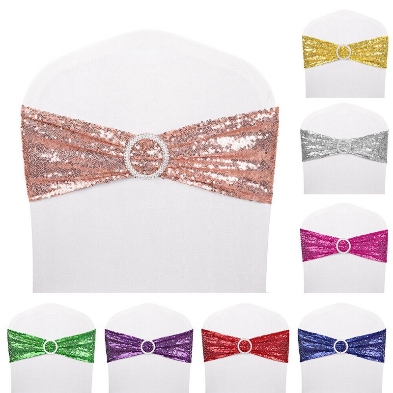 10PCS Non-tie elastic chair back flower sequined chair back bow hotel wedding wedding supplies chair cover decoration strap