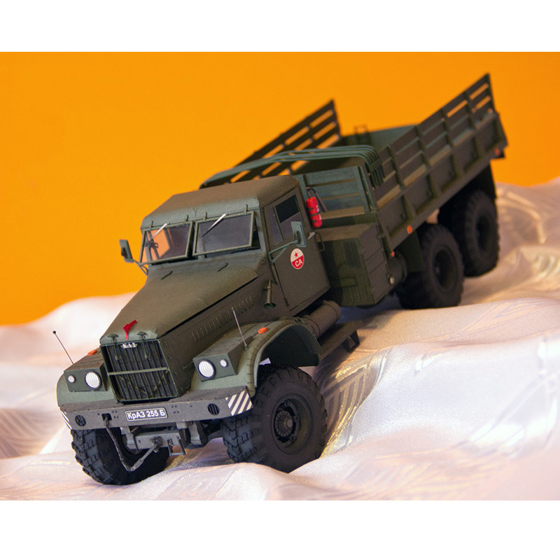<font><b>1</b></font>:<font><b>25</b></font> Soviet Kraz-255B Military 3D Card Paper Model Truck Scale Military Vehicle Military Fan Manual DIY Military Collection Gift image
