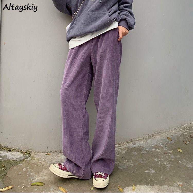 Wide Leg Pants Women Solid Purple Corduroy Retro High Waist Trendy Summer Slim Full Length Lady Trousers Pockets Chic Streetwear
