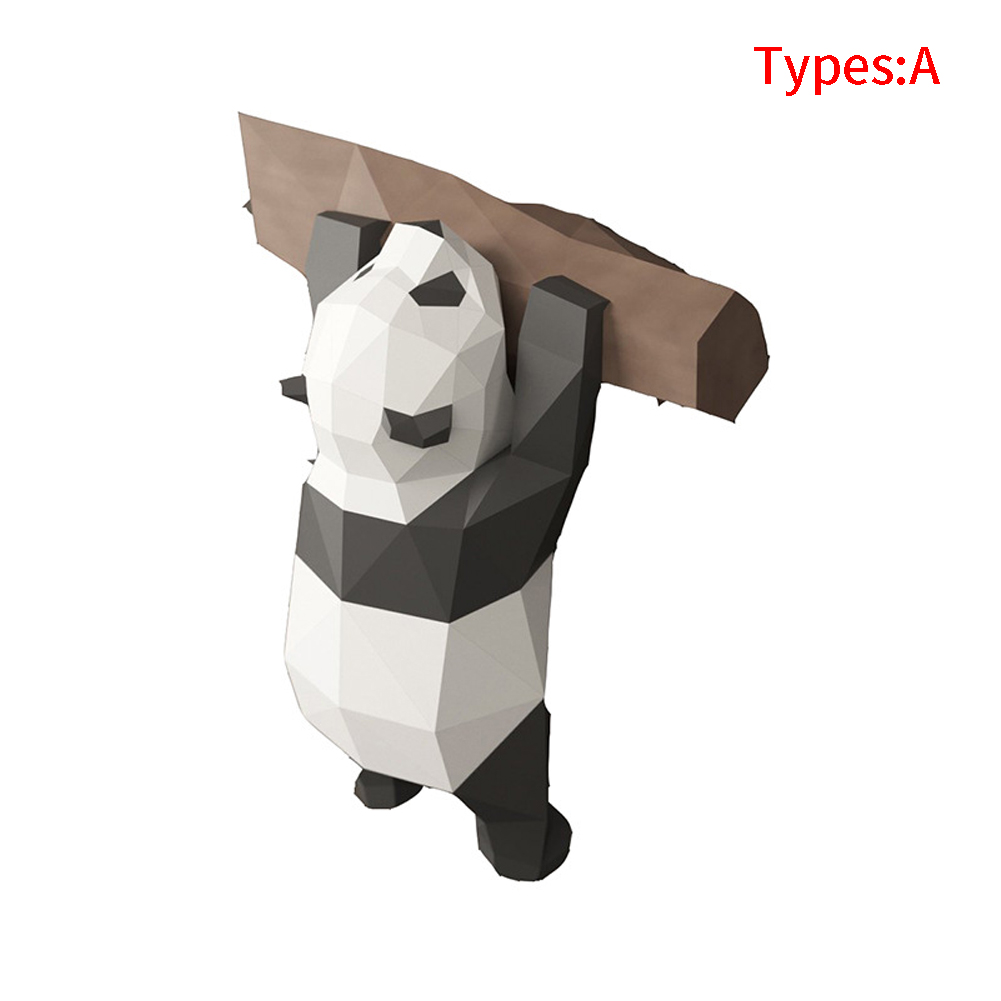 Wall Hanging 3D Geometric Panda Ornament Handmade Show Props Paper Model Party Cute Gift DIY Kids Toy Home Decoration Funny