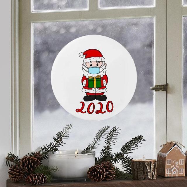 Duża okrągła naklejki świąteczne Cute Cartoon drzwi okno świąteczne dekoracje Xmas naklejki 8in 21cm dekoracje do domu TSLM2 tanie i dobre opinie CN (pochodzenie) Nowoczesne Papier 3d naklejki CHRISTMAS STICKER 21x21cm Christmas stickers Christmas Ornaments