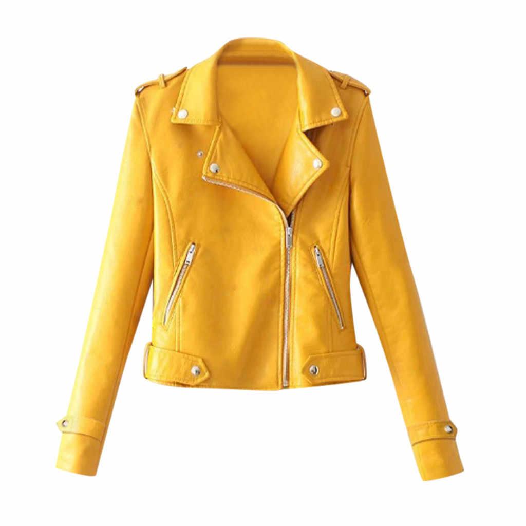 Faux daim mince Cool dame vestes femmes dames revers moteur veste manteau zippé Biker court Punk hauts courts moto manteau