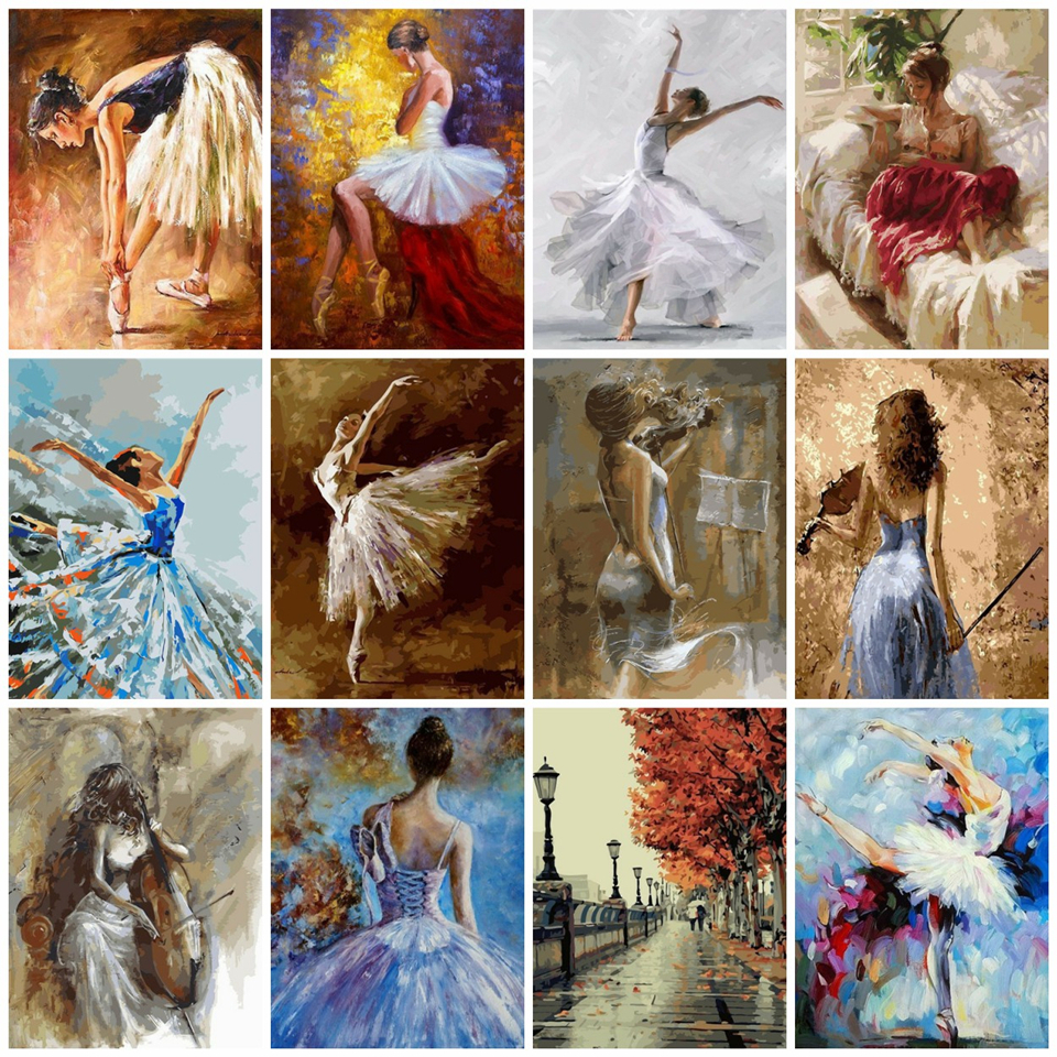 AZQSD Painting By Numbers Ballet Dancer Coloring By Numbers Arcylic Oil Painting Portrait Pictures Oil Painting By Numbers