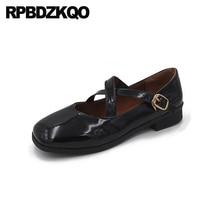 Señoras charol de cuero de las mujeres de la vendimia retro cómodos zapatos de diseñador de china 2019 planos negro chino calzado de punta cuadrada