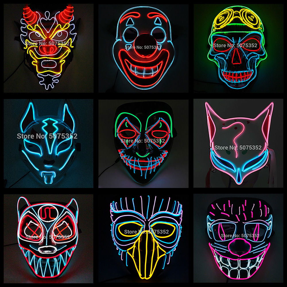 Fashion Cool LED Mask Halloween Party Cosplay Props Neon LED Light up Mask Purge Masks Night Club DJ Mask Glow in the Dark
