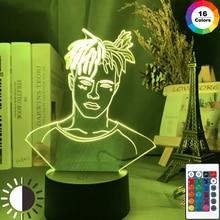 Rapero americano figura XXXTentacion Led luz nocturna ventiladores de enfriamiento regalo Dropshipping habitación Decoración Luz Oficina dormitorio Mesa lámpara 3d