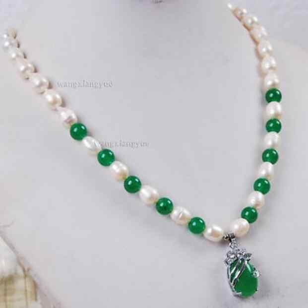 Schmuck Perle Halskette 7-8mm Weiß Akoya Zuchtperlen/Grün Jade Edelsteine anhänger halskette Freies Verschiffen