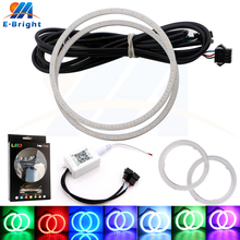 цена на 4Pcs Rings APP RGB COB 60mm 70mm 80mm 90mm 95mm 100mm 110mm 120mm Angel Eye Led Halo Ring LED DRL Headlights Auto LED Light 12V