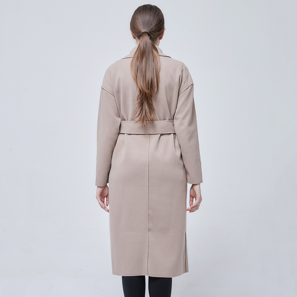 New Fashion Women's Loose Solid Color Waistband Women's Long Black Coat Simple Wool Coat with Pockets Sashes
