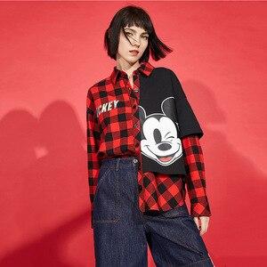 Disney Oy Blouse Vrouwen 2020 Zomer Nieuwe Mickey Mouse Vrouw Print Stiksels Shirt Vrouwen Kleding Crop Top Katoen 100%