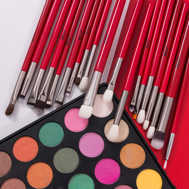 BEILI Red 30pcs Professional Makeup Brushes Set Natural Hair Powder Foundation Blush Eye shadow eyebrow liner Make up Brush Tool 2