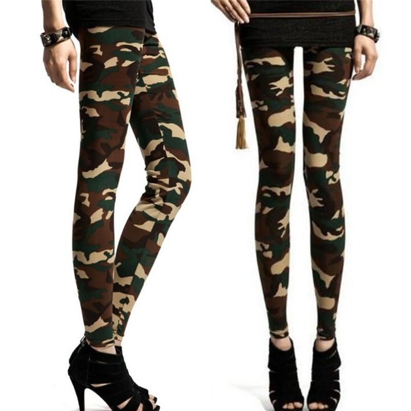 Women's Ladies Girls Sexy Army Green Camouflage Printed Elastic Slim Pencil Pants Leggings Long Trousers