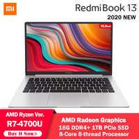 Xiaomi-ordenador portátil Mi RedmiBook de 13,3 pulgadas, AMD Ryzen 7, 4700U, 16GB, DDR4, 1TB, PCle SSD, ocho núcleos, Notebook, 1080P, Windows 10