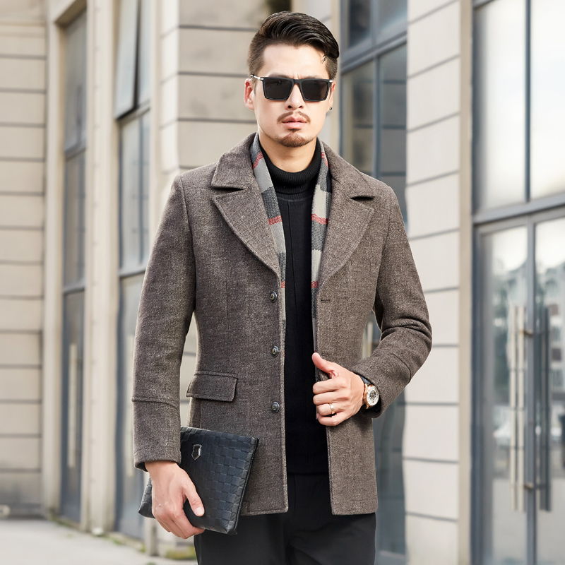 New Winter Wool Coat Men Leisure Sections Woolen Coats Men's Pure Color Casual Fashion Jackets / Casual Men Overcoat M-4XL